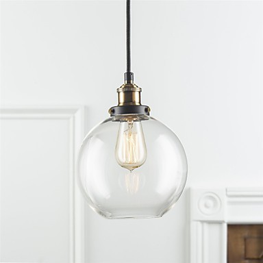 industrial factory pendant lamp antique brass one light fixture glass shade cafe dining room. Black Bedroom Furniture Sets. Home Design Ideas