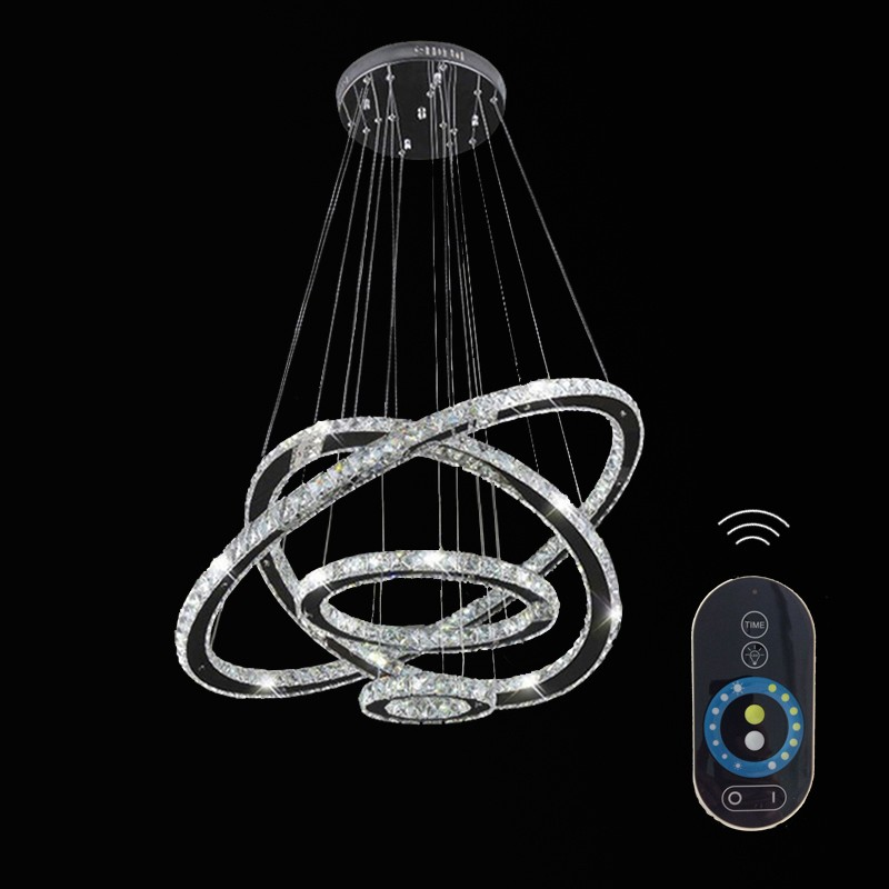 Dimmable Led Crystal Chandeliers Lights Remote Control