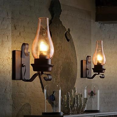 Retro Rustic Nordic Glass Wall Lamp Bedroom Bedside Wall Sconce Vintage Industrial Wall Light Fixtures Lighting Pop