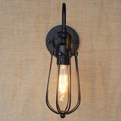 American Country Living Room Lamp Bedroom Balcony Minimalist Matte Black Bedside Lamp Decorative Art Wall