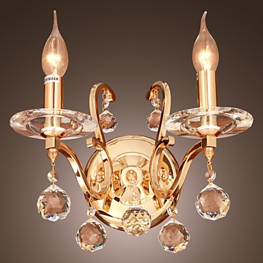 Next Crystal Wall Lights : Golden Crystal Wall Light with 2 Lights - Lighting pop