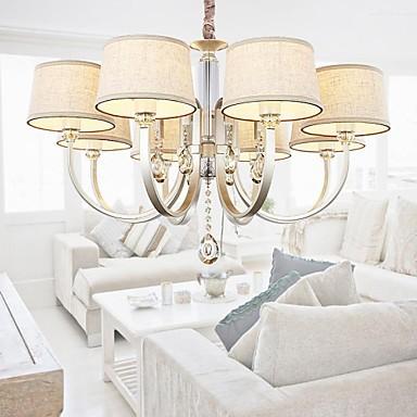 40w Country Crystal Silver Metal Chandeliers Living Room / Bedroom / Dining Room