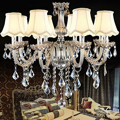 K9 Transparent Christmas Crystal Candle Chandelier with 8 Lights