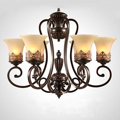Chandeliers/Pendant Lights/6 Lights/ Vintage/Country/Island Living Room/Bedroom/Dining Room/Metal+Glass