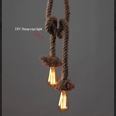 1 Light DIY Art Hemp Rope Light Creative Hemp Rope Chandelier Long 100cm Send 1 Bulb
