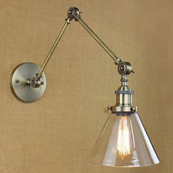 Iron Plating Bronze Bar Aisle Dining Room Hotel Vintage Iron Arm Glass Wall Lamp Lighting