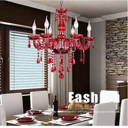 Chandelier Red Crystal Luxury Modern 6 Lights