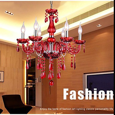 Chandelier Red Crystal Luxury Modern 6 Lights