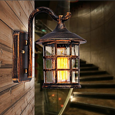 Antique Rustic Iron Waterproof Outdoor Wall Lamp Vintage Lantern Light Rusty Matte Black Corridor Hallway
