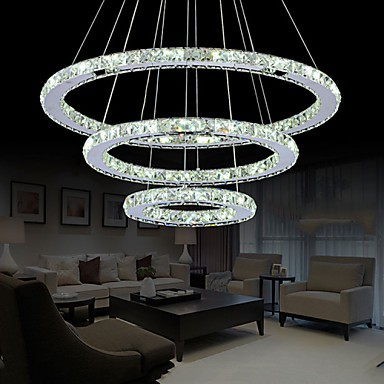 LED Crystal Pendant Light Modern Chandelier Lighting Lamps Cool White Round Ceiling Lights Fixtures