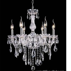6 Arms Vintage Luxury led Lighting K9 Crystal Chandelier Ceiling Pendant Light