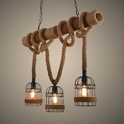 American Country Retro Bamboo Three Head Rope Chandelier