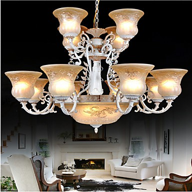 White Chandeliers Fifteen-Lights Pattern-Glass-Shade Hand-Gilt European Retro Classic 220V