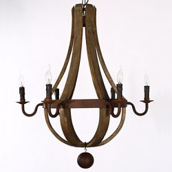 Vintage Amercian Rustic Wooden Pendant Wine Barrel Chandelier Lamp Liviing and Bedroom Lamp
