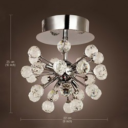 Max 10W Modern/Contemporary Crystal / Mini Style / Bulb Included Chrome Metal Chandeliers / Flush Mount Living Room / Bedroom / Hallway