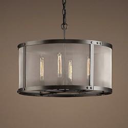 60W E27 4-light Pendent Light with Transparent Shade