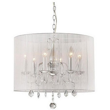 fabulous drum pendant light fixtures living room | Max 60W Modern/Contemporary / Drum Crystal Electroplated ...
