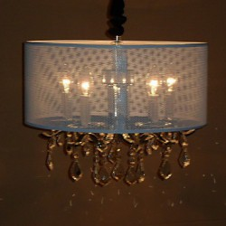 60W Contemporary Crystal Pendant Light with 5 Lights and Semitransparent PVC Shade