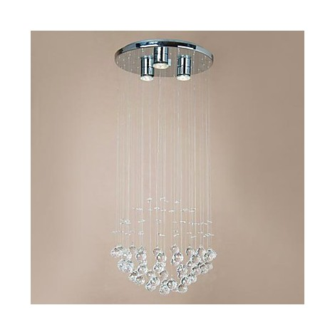 Modern 3 Light Flush Mount With Crystal Beads Lighting Pop