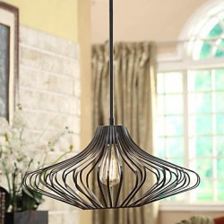 60W Modern Pendant Light with Black Metal Structure Shade