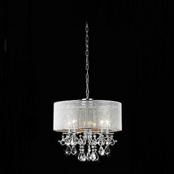 Modern 5 - Light Crystal Pendant Lights with Fabric Shade