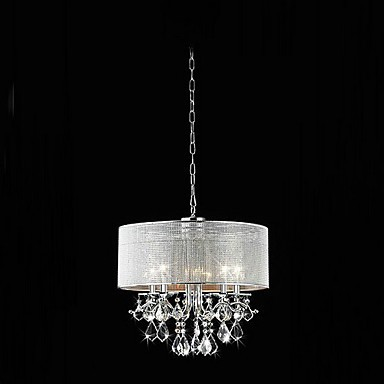 Modern 5 Light Crystal Pendant Lights With Fabric Shade