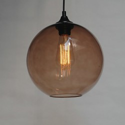Modern Glass Pendant Light in Round brown Bubble Design