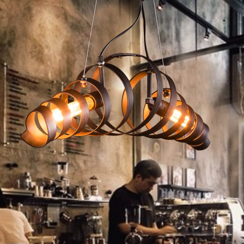 Retro Bar Iron Lamp Modern Minimalist Style Chandelier