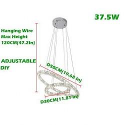 LED Crystal Pendant Lights Lighting Modern 2 Rings Three Sides K9 Crystal Indoor Ceiling Lights Lamp Fixtures