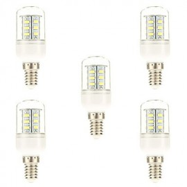 5 pcs E14 5 W 24 SMD 5730 450 LM Natural White Corn Bulbs AC 220-240 V