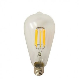 8W E26/E27 LED Filament Bulbs ST64 8 COB 780 lm Warm White Dimmable AC 220-240 V 1 pcs