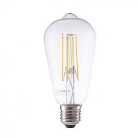4W E27 LED Filament Bulbs ST58LF 4 COB 450 lm Warm White Dimmable / Decorative AC 220-240 V 1 pcs