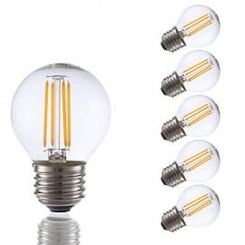 3.5W E26 LED Filament Bulbs G16.5 4 COB 350 lm Warm White Dimmable 120V 6 pcs