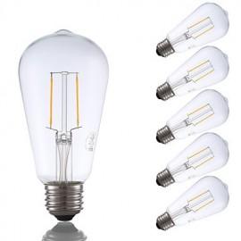 2W E26 LED Filament Bulbs ST19 2 COB 220 lm Warm White Dimmable / Decorative AC 110-130 V 6 pcs