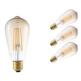 4W E27 LED Filament Bulbs ST64LF 4 COB 350 lm Amber Dimmable / Decorative AC 220-240 V 4 pcs