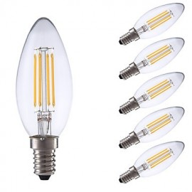 3.5W E14 LED Filament Bulbs B35 4 COB 350/400 lm Warm White / Cool White Dimmable AC 220-240 V 6 pcs