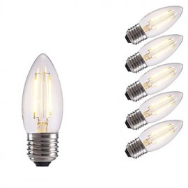 2W E27 LED Filament Bulbs B35 2 COB 250 lm Warm White / Cool White AC 220-240 V 6 pcs