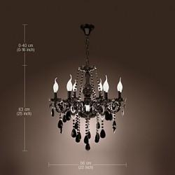 Chandelier Black Crystal Modern 6 Lights