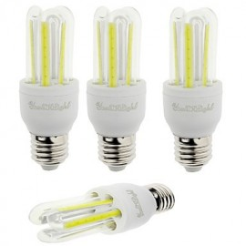 4PCS E27 7W 600lm 6000K 6-COB LED White Light Corn Lamp(AC85-265V)