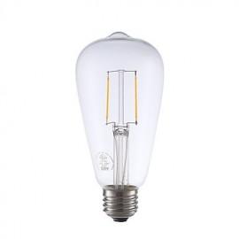 2W E26 LED Filament Bulbs ST21 2 COB 220 lm Warm White Dimmable / Decorative AC 110-130 V 1 pcs