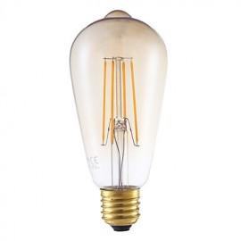 4W E27 LED Filament Bulbs ST64LF 4 COB 350 lm Amber Dimmable / Decorative AC 220-240 V 1 pcs
