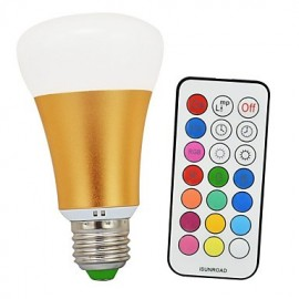 10W RGBWW E26/E27 LED Globe Bulbs A60(A19) 1 COB 900lm-1200lm lm Warm White / RGB Infrared Sensor / Dimmable / Remote-Controlled (85-265V)