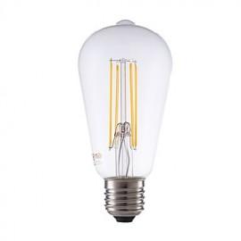 4W E27 LED Filament Bulbs ST64LF 4 COB 450 lm Warm White Dimmable / Decorative AC 220-240 V 1 pcs
