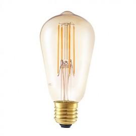 4W E27 LED Filament Bulbs ST58LF 4 COB 350 lm Amber Dimmable / Decorative AC 220-240 V 1 pcs