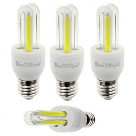 4PCS E27 3W 210lm 6000K 4-COB LED White Light Corn Lamp(AC85-265V)