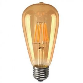 6W E26/E27 LED Globe Bulbs ST64 6 COB 580 lm Warm White Decorative Waterproof AC 85-265 V 1 pcs