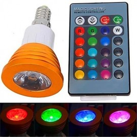3W E14 LED Spotlight 1 High Power LED 180 lm RGB Remote-Controlled AC 85-265 V