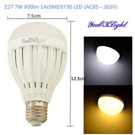 1PCS E27 7W 14*SMD5730 600LM White/ Warm White Light LED Energy saving High quality Globe Bulbs (AC85~265V)