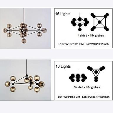 Chandeliers 15 Lights/Glass Ball Lights/ Retro Living Room / Hallway / Outdoors / Garage Metal