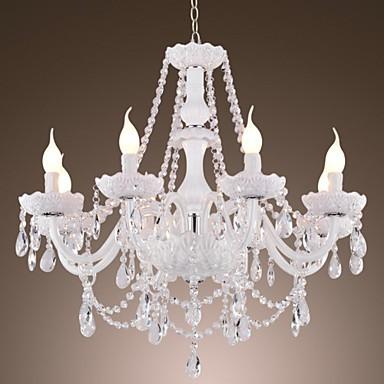 Chandelier White Crystal Modern Living 8 Lights Lighting Pop